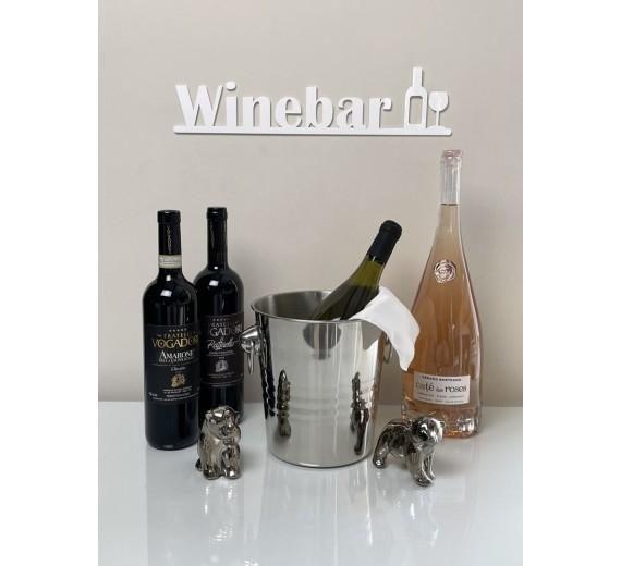 Skilt - Winebar med flaske og glas